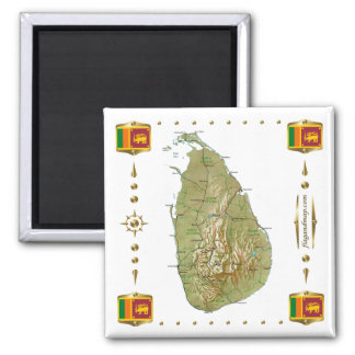 Carte du Sri Lanka + Aimant de drapeaux