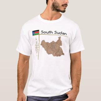 Carte du sud du Soudan + Drapeau + T-shirt de