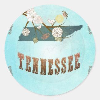 Carte du Tennessee avec de beaux oiseaux Sticker Rond