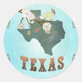 Carte du Texas avec de beaux oiseaux Autocollant Rond