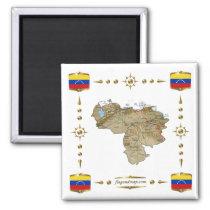 Carte du Venezuela + Aimant de drapeaux