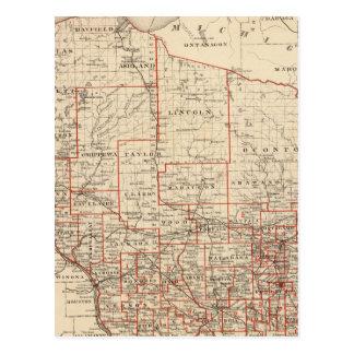 Carte du Wisconsin, montrant des secteurs
