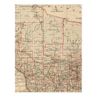 Carte du Wisconsin montrant les secteurs