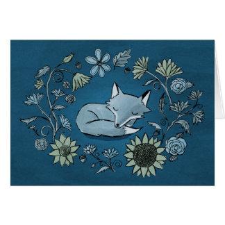 Carte éclairée par la lune de Fox et de fleurs