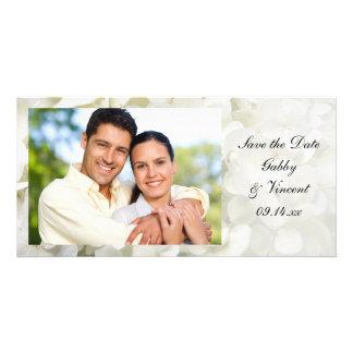 Carte Économies blanches de mariage de fleur d'hortensia