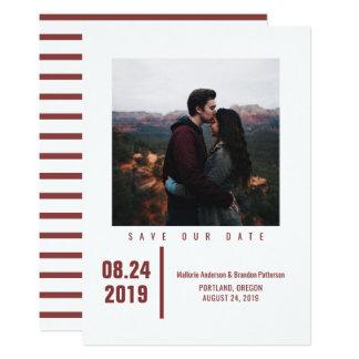 Carte Économies chics minimalistes de photo la date |