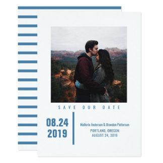 Carte Économies chics minimalistes de photo le bleu de