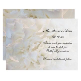 Carte Économies florales blanches de Quinceañera la date