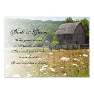Carte Économies patinées de mariage campagnard de grange