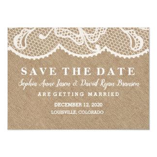 Carte ÉCONOMIES rustiques CHICS de mariage de dentelle