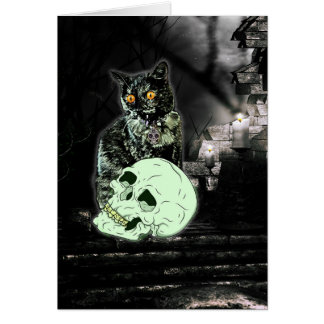 Carte éffrayante de Halloween de chat de zombi