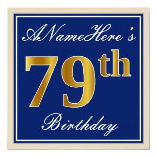 Carte Élégant, bleu, anniversaire d'or de Faux
