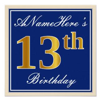 Carte Élégant, bleu, anniversaire d'or de Faux 13ème +