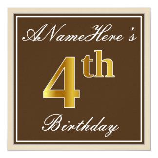 Carte Élégant, Brown, anniversaire d'or de Faux 4ème +