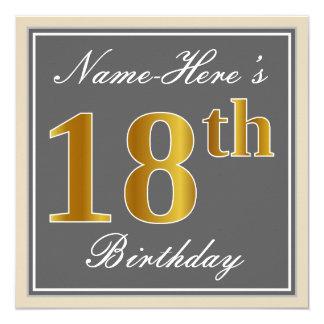 Carte Élégant, gris, anniversaire d'or de Faux 18ème +