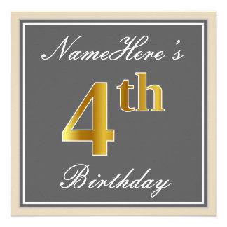 Carte Élégant, gris, anniversaire d'or de Faux 4ème ;