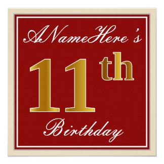 Carte Élégant, rouge, anniversaire d'or de Faux 11ème ;