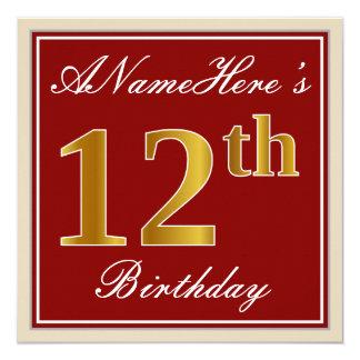 Carte Élégant, rouge, anniversaire d'or de Faux 12ème ;