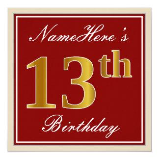 Carte Élégant, rouge, anniversaire d'or de Faux 13ème ;