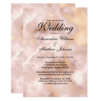 Carte Élégant rougissent le mariage rose de marbre d'or