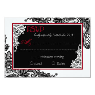 Carte élégante de la dentelle blanche et noire carton d'invitation 8,89 cm x 12,70 cm