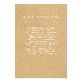 Carte élégante de l'information d'invité de carton d'invitation 8,89 cm x 12,70 cm