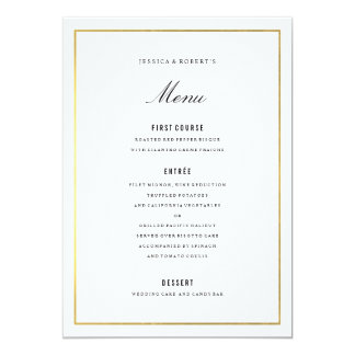 Carte élégante de menu de mariage de frontière carton d'invitation  12,7 cm x 17,78 cm