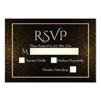 Carte élégante de noir et d'or RSVP