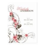 Carte élégante de profil de Fleur de roses roses Carte De Visite Grand Format