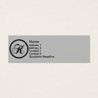 Carte élégante de profil du monogramme K de