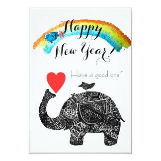 Carte Éléphant de bonne année et oiseau bleu