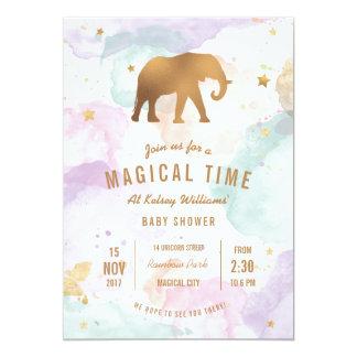 Carte Éléphant d'or avec le baby shower en pastel