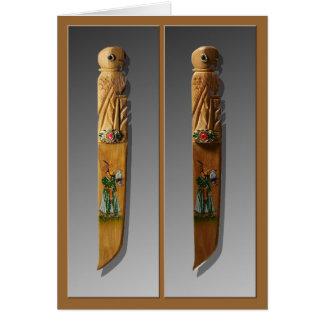 Carte en bois de signet de couteaux