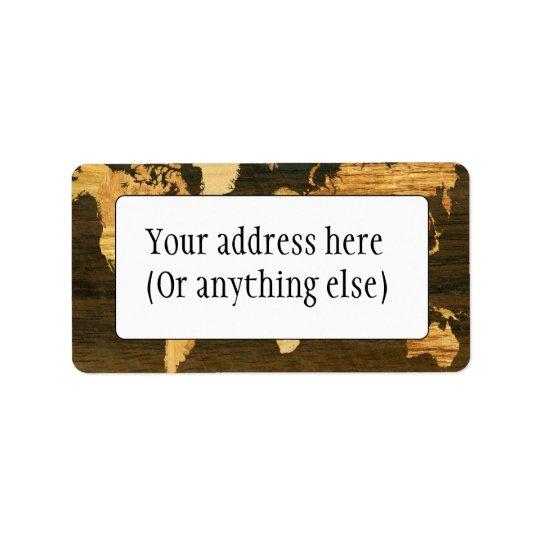 Carte en bois du monde étiquette d'adresse