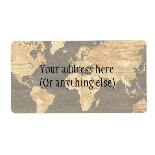 Carte en bois du monde étiquette d'expédition