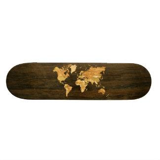 Carte en bois du monde skateboard old school 18,1 cm