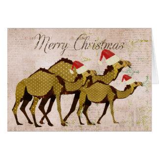 Carte en bronze de fête de Joyeux Noël de chameaux