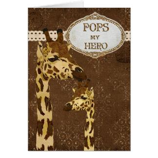 Carte en bronze d'or de fête des pères de girafes