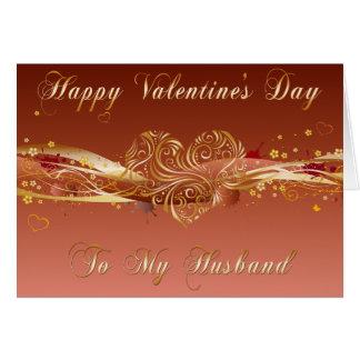 Carte en filigrane de Valentine de mari de coeur