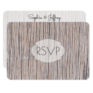 Carte Entrées du bois patinées RSVP de mariage de grain