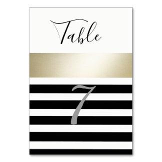 Carte Épouser noir/blanc d'or moderne élégant de rayures