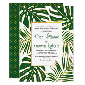 Carte Épouser vert tropical de feuille de monstera et de