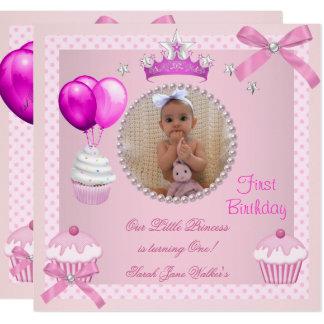 Carte ęr Bébé blanc de perle de petits gâteaux de rose