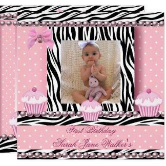 Carte ęr Bébé de zèbre de petits gâteaux de rose de