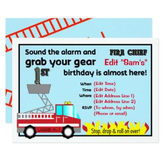 Carte Ęr sapeur-pompier d'invitations de fête