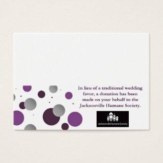 Carte et couvert de faveur de charité de mariage