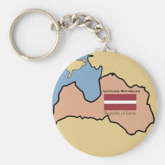 Carte et drapeau de la Lettonie Porte-clé Rond
