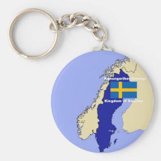 Carte et drapeau de la Suède Porte-clé Rond