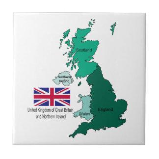 Carte et drapeau du Royaume-Uni Petit Carreau Carré