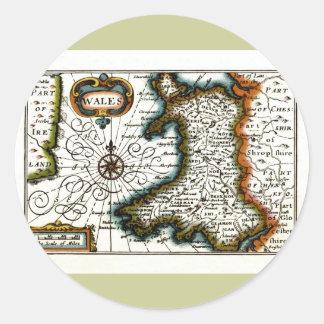 Carte et/ou drapeau du Pays de Galles Adhésifs Ronds
